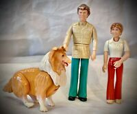 Vintage Fisher Price Adventure People - Dollhouse DAD, DAUGHTER, COLLIE DOG 70's