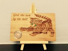 Christmas lucky gift wooden postcard with FARTHING coin and 2 Swarovski crystals
