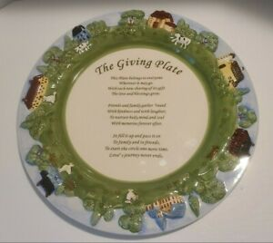"""12.75"""" THE GIVING PLATE Farm/Houses/Animals Sharing Plate"""