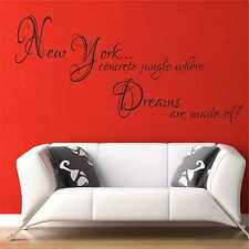 New York Concrete Jungle Wall Quote Sticker Bedroom Kitchen Decal Vinyl Art B46