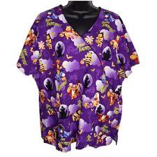 Disney Womens Halloween Scrub Top 2X Tigger Winnie The Pooh Purple Trick Treat