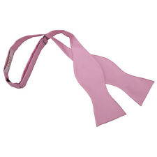 DQT Woven Plain Solid Check Light Pink Formal Classic Mens Self Tie Bow Tie