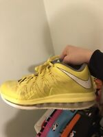 Nike Air Max LeBron 10 X Low Sonic Yellow Grey Size 9  579765-70 13 14 15 16 17