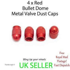 4 x Top Quality Red Bullet Metal Wheel Tyre Valve Dust Caps Car Bike