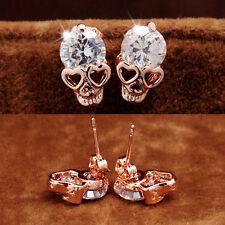 Women Ladies Rose Gold Tone Crystals Diamond Skull Pierced Stud Earring Jewelryŋ
