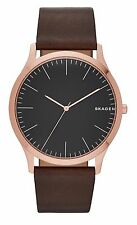 Skagen SKW6330 Men's Jorn Rose Gold Tone Nubuck Brown Leather Band Analog Watch