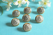 "1187B Chequerboard Buttons "" Coat of Arms "" Golden Silver Metal Set 7 Ép."
