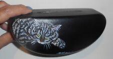 Gray Tabby Cat Hand Painted Hard Eyeglass Sunglass Glasses Case vegan Box
