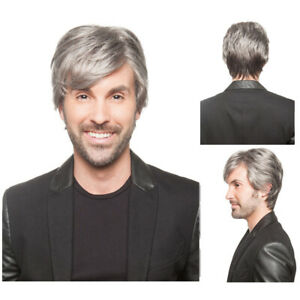 Handsome Men's Short Gray Wig Male Hair Short Pixie HairStyle Grey Wavy Wig