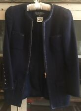 CHANEL Rare Vintage Navy Jacket with Gold Buttons FR34