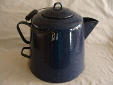 Vtg Antique Graniteware Enamelware Dark Blue Extra Large Coffee Pot Camp Fire