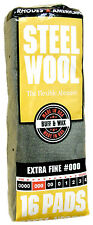 Case Rhodes American Steel Wool Grade 000 - Extra Fine~ (6 bags of 16 pads)