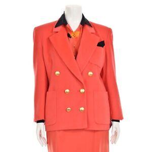 Vtg Escada Coral Pink Angora/Wool Blend Double Breasted Jacket Blazer size 40/10