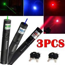 3Pc 900Miles Red+Green+Blue Purple Beam Light Laser Pointer 18650 Teaching Lazer