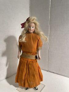 Antique German Dollhouse Doll W/ Wig Dressed!
