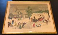 "GRANDMA MOSES Vtg PRINT ""Joy Ride"" 7933-E Catalda Fine Arts, NYC Framed 19x15.5"