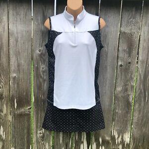 IZOD Golf Skort Top Set Black White Polka Dot Women's Size 2 (Skort) / M (Top)