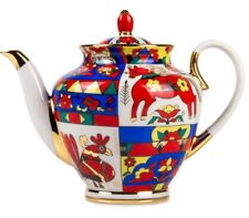 Teapot Imperial Lomonosov Porcelain Red Rooster Brewing Tea Pot Made in Russia