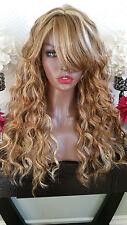 Beautiful Blonde Mix Wavy Wig with Bangs Skin Top Heat Safe