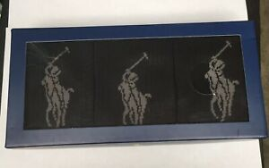 Polo Ralph Lauren Big Pony Black Socks Gift Box set 3 pairs Size 6-12 NEW AR157