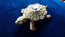 VTG Swarovski Swan Signed Rare Tortoise Turtle Gold Plated Crystal Brooch Pin
