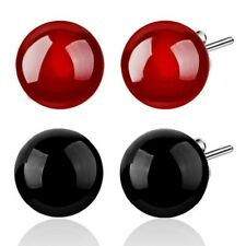6/8mm Achat Kugel Ball Perlen Ohrstecker aus 925 Sterlingsilber - rot / schwarz