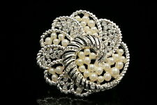 Swirl flower clear crystal white pearl beads silver plated brooch dress pin H04