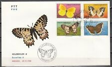 Turkey, Scott cat. 2421-2424. Butterflies issue on a First Day Cover.
