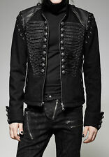 Men's Steampunk Gothic Rock Metal Military Short Black Army Woolen Jacket