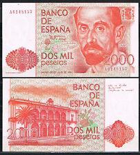 ESPAÑA - BILLETE 2000 PESETAS 1980  J.R. JIMENEZ Serie A   SC  UNC