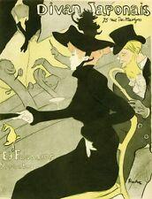"""""""DIVAN JAPONAIS"""" Planche originale entoilée Litho TOULOUSE-LAUTREC 1892 24x30cm"""