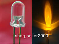 500x 3mm yellow 7000mcd Super Bright Water Clear LED,3Y