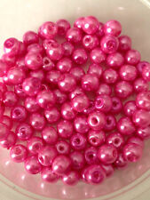 6mm Glass faux Pearls - Candy Pink (100 beads) jewellery making