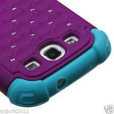 Samsung Galaxy S3 i9300 Hybrid Spot Diamond Hard Case Skin Cover Purple Blue