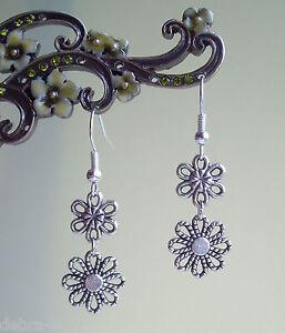 Pretty Filigree Daisy Flowers Dangly Earrings