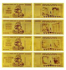 WR Simbabwe Zimbabwe Lot of 4 24K Gold Banknotes 10,20,50,100 Trillion Dollars