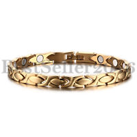 """Women Ladies Gold Stainless Steel Magnetic Therapy Healthy Bangle Bracelet 8.26"""""""