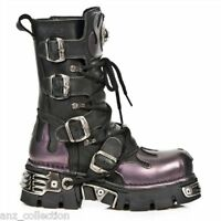 Newrock New Rock 591 S5 Purple Flame Metal Black Leather Heavy Punk Gothic Boots