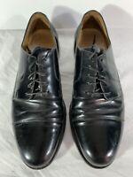 COLE HAAN Men's Dress Shoes Black Leather Cap Toe Lace Up Oxfords Size 12 D EUC