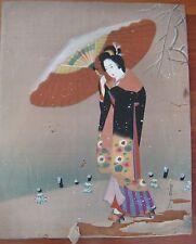 ANTIQUE JAPANESE SILK PAINTING DRAWING LARGE GEISHA UMBRELLA SNOW