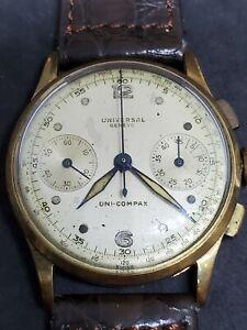 1950s Universal Geneve Uni-Compax Two  Registers Men 14KYG Chronograph