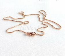 Rose Gold Plated 17.7inches 45cm 1mm Small Box Design Classic Chain Necklace