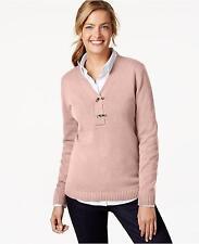 Charter Club Women's Long Sleeve V Neck Pullover Sweater (Light Pink, XL)