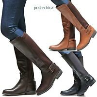 New Women JMn46 Brown Black Tan Stretchy Riding Knee High Biker Boots 6 to 10