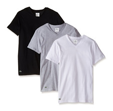 Mens Lacoste Essentials 3 Pack V-Neck T-Shirts Cotton Large Classic Fit $42.50