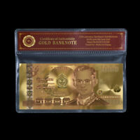 WR Thailand 1000 1,000 Baht Banknote 24K Gold Foil Bank Note Gifts In COA Sleeve