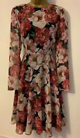 Hobbs Floral Blossom Print Floaty Long Sleeve Fit Flare Drape Occasion Dress 10