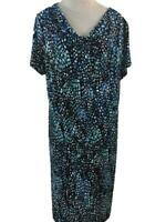 George dress size 16 18 XL blue short cap sleeve cowl neck stretch travel