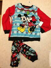 Mickey & Minnie Mouse Ugly Sweater Pajamas Fleece Sleep PJs Disney Christmas NEW