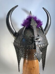 Antique Indo Persian Ottoman Kulah Khud Devil Mask Warrior Helmet w/Plume